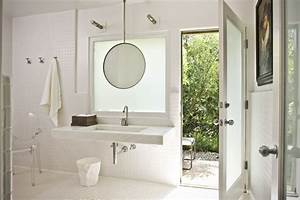 How to hang mirror bathroom contemporary with high for How to hang a bathroom mirror