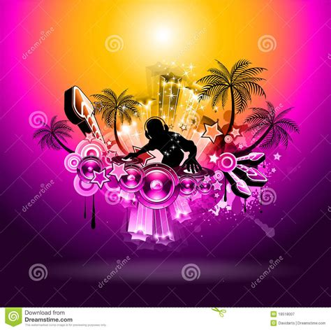 tropical sunset  party disco flyer royalty  stock
