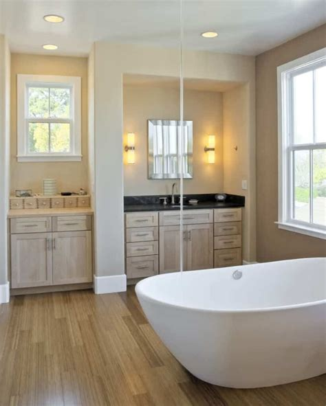 master bathrooms  hardwood flooring