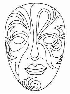 Masques masque de carnaval a colorier for Kabuki mask template