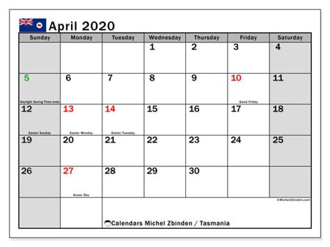 calendar april  tasmania michel zbinden en