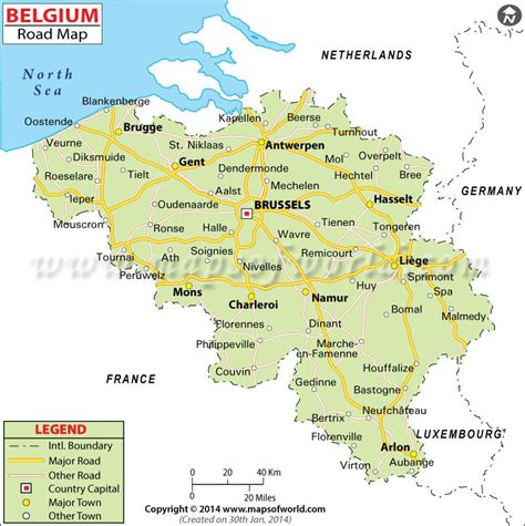 belgium road map depicts  highways  major roads