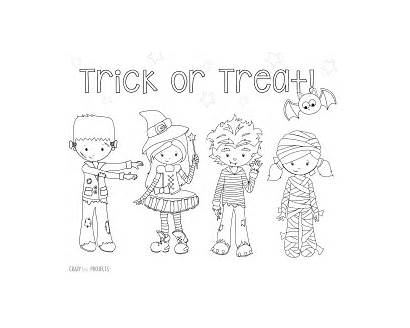 Coloring Trick Treat Halloween Pages Printable Crazy