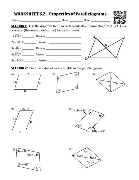 worksheet 6 2 properties of parallelograms