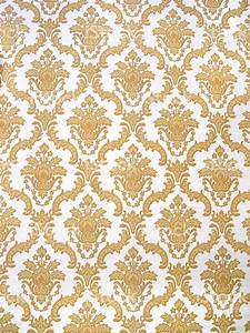 Gold And White Floral Patterned Wallpaper Background Stock ...