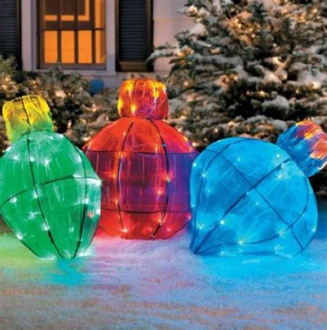 outdoor lighted christmas ornaments outdoor lighted giant christmas light bulb holiday yard