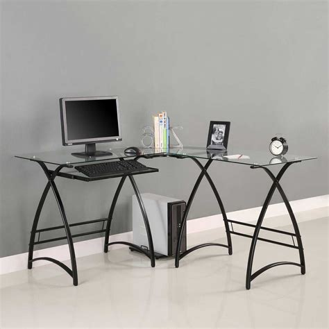 glass l shaped office desk glass office desk for gorgeous and modern office office