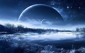 Night nature planet a fantastic landscape lakes reflection ...
