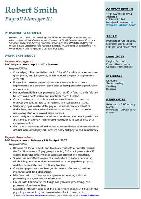 payroll manager resume samples qwikresume