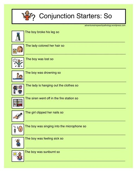 conjunction starter worksheets so hm parts of speech
