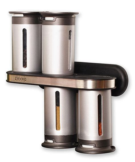 Spice Rack Sets by Zevro Silver Magnetic Six Canister Spice Rack Set Spice