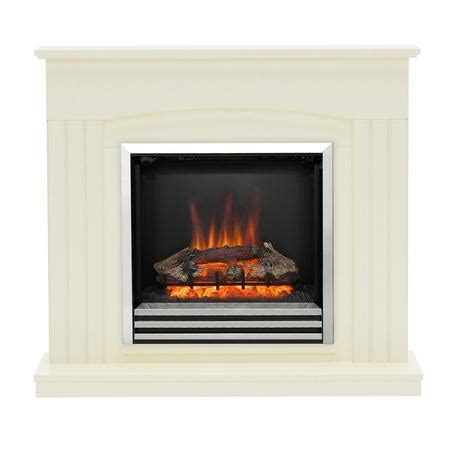 modern linmere almond stone effect electric fireplace