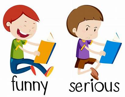Serious Funny Opposite Vector Words Wordcard Clip
