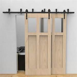 winsoon 5 16ft sliding bypass barn door hardware double With bypass sliding barn door hardware kits