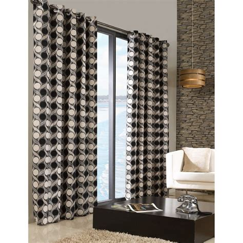 Patterned Curtains And Drapes - chenille patterned fully lined eyelet ring top curtains