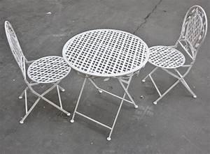 Bistrotisch Und Stühle : bistro set wei eisen tisch und 2x stuhl bistroset ~ Michelbontemps.com Haus und Dekorationen