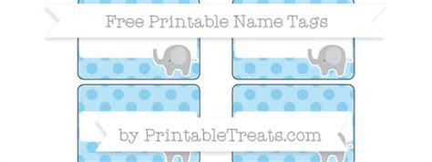 baby blue polka dot elephant  tags printable