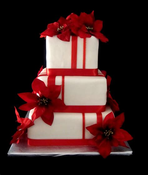 Wedding Cake Red And White Poinsettia Holiday Cake