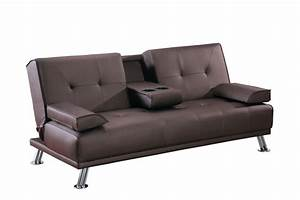 modern faux leather 3 seater sofa bed fold down table With modern faux leather sofa bed