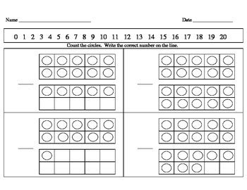 kindergarten math counting book and worksheets 1 20 by