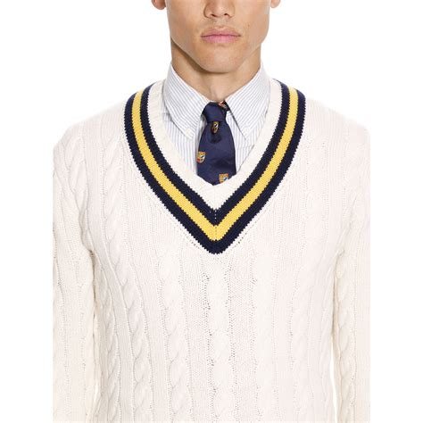 sweater for lyst polo ralph cotton blend cricket sweater in