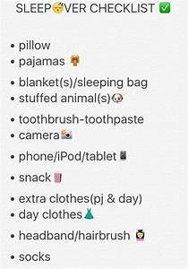 Sleepover Checklist Girls Night Out Sleepover