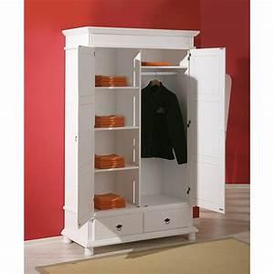 Dressing Bois Massif : armoire penderie dressing rangement chambre vintage 2 portes bois massif blanc ~ Louise-bijoux.com Idées de Décoration