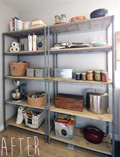 metal kitchen storage cabinets the crux how to give pantry shelving easy rustic charm 7466