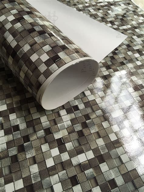 peel  stick mosaic tile vinyl wallpaper waterproof