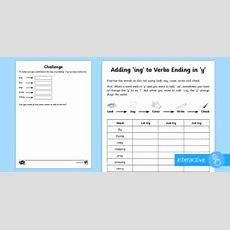 Year 2 Spelling Practice Adding 'ing' To Verbs Ending In 'y' Worksheet