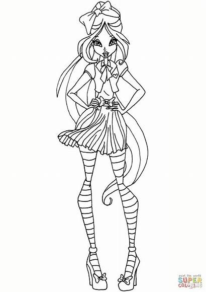 Winx Coloring Flora Club Pages Drawing Printable