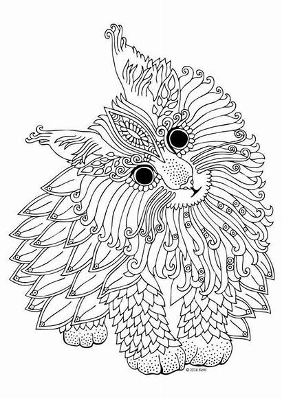 Coloring Gel Pen Pages Printable Adult Cat
