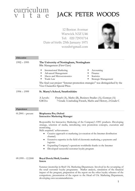 cv template netherlands resume format