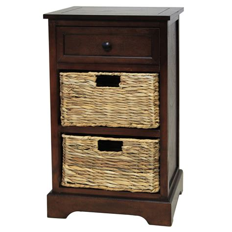 Nightstand With Baskets by Designs Malibu 3 Drawer Stand With Wicker