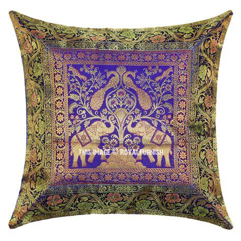 Decorative Toss Pillows by Blue Decorative Elephant Indian Silk Brocade Toss Pillow