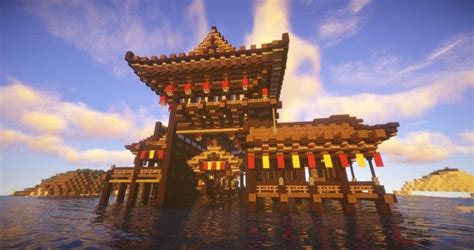 sea house japanese style chinese style minecraft project minecraft