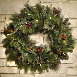 christmas wreath 24 quot cordless pre lit decorated indoor outdoor holiday home ebay