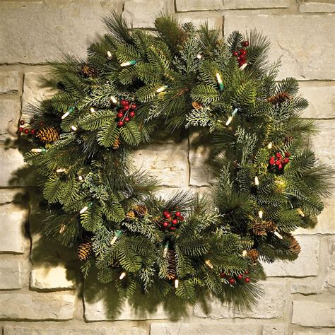 wreath 24 quot cordless pre lit decorated indoor