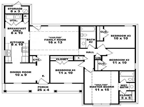 4 bedroom house plans 1 2 floor house plans withal 2 bedroom one homes 4