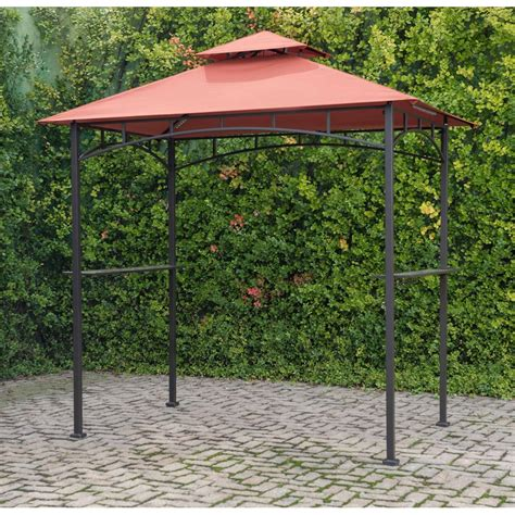 grill gazebo with terra cotta canopy and led lights