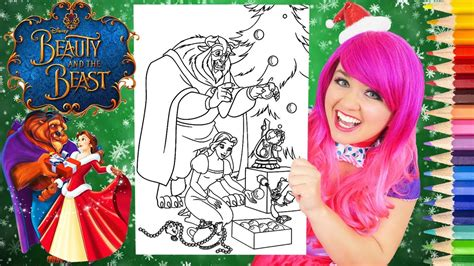 coloring belle christmas beauty   beast coloring