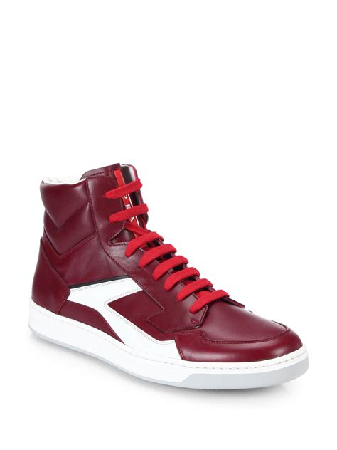 728f55e5ab1e 2000 x 2667 lyst.com · Lyst - Prada Leather High-top Sneakers in Red for Men