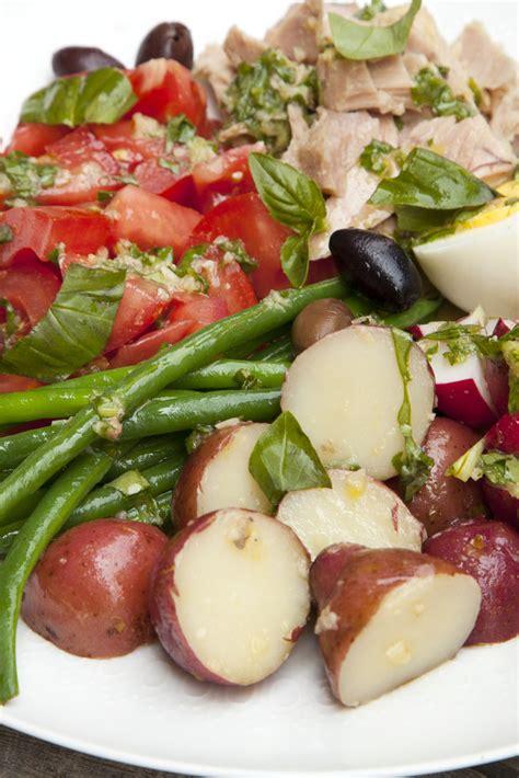 nicoise salad  basil  anchovy lemon vinaigrette