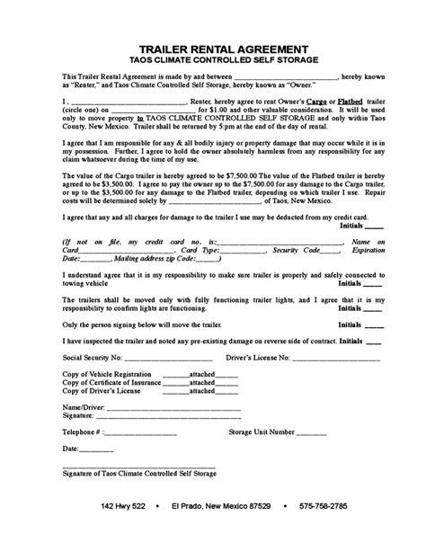 agreement form sle trailer rental agreement template 28 images sle