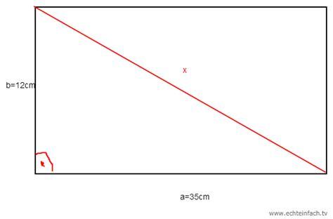 diagonale eines rechtecks mit satz des pythagoras