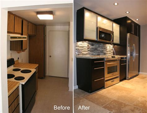 galley kitchen remodel before and after before after small kitchen remodels modern kitchens Small