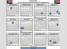 Printable 2019 Calendar with South Africa Holidays Free