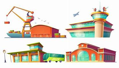 Bus Cartoon Port Airport Station Vector Sea