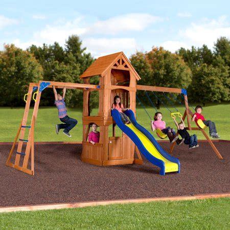 Walmart Backyard Playsets by Backyard Discovery Parkway Wooden Swing Set Walmart