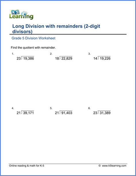 grade 5 multiplication division worksheets free printable k5 learning